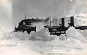 Michigan Great Lakes~Straits of Mackinac~Steamers in Ice Blockade~1940s RPPC