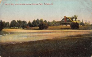 Toledo Ohio c1910 Postcard Drive Way and Shelter House Ottawa Park
