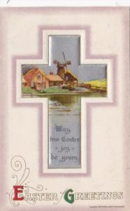 Easter Beautiful Cross & Landscape Scene Winsch 1911