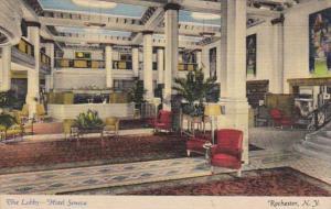 New York Rochester Hotel Seneca The Lobby 1950 Curteich