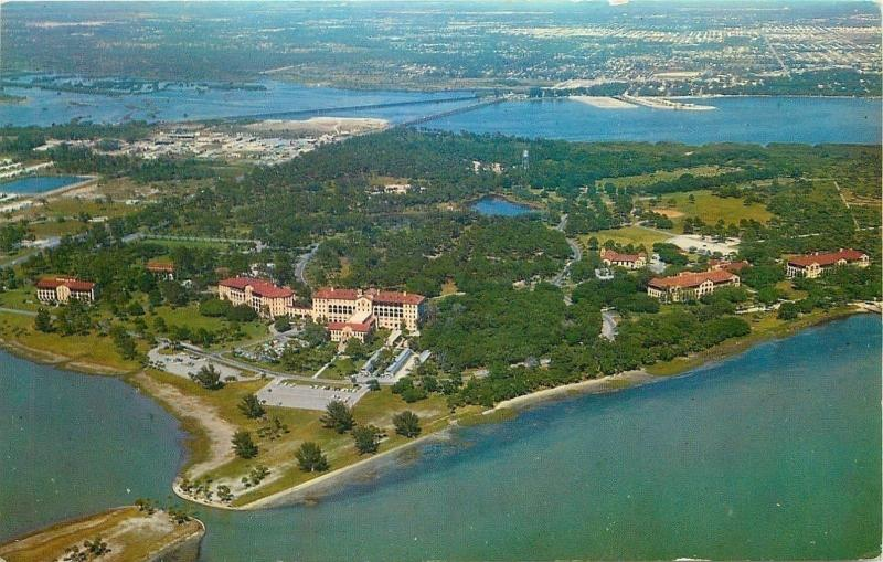 Bay Pines Florida~Aerial View of US Veterans Hospital~Boca Ciega Bay~1950s pc
