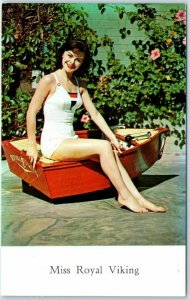 1950s Chrome Advertising Postcard MISS ROYAL VIKING Kids' Model / Toy Boat