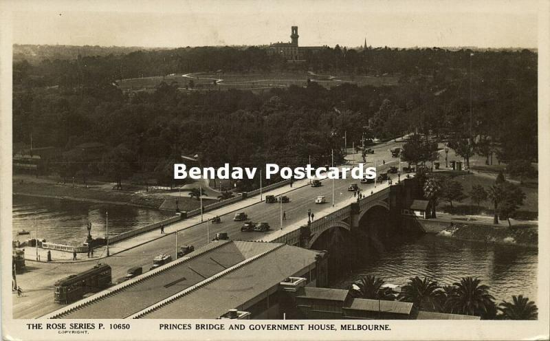 australia, MELBOURNE, Vic., Princes Bridge and Government House (1944) Rose RPPC