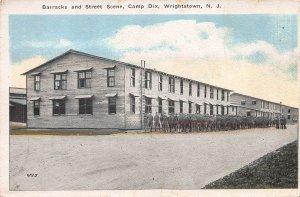 Barracks and Street Scene, Camp Dix, N.J., Early Postcard, Unused
