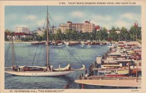 Yacht Basin showing Soreno Hotel and Yacht Club, St. Petersburg,Florida,30-40s
