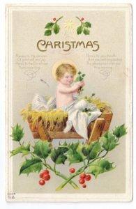 Christmas Babe in Manger Infant Christ Child Embossed w Gold Trim Nash Postcard