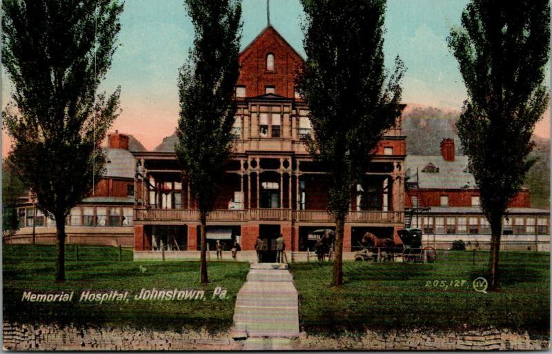 Johnstown Pennsylvania~Memorial Hospital~Boys on Ledge~Nurses in Window~c1910