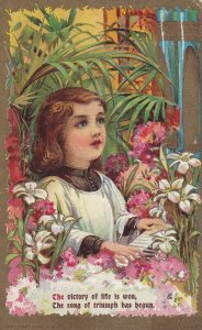 Choir Boy Playing The Piano Surrounded By Flowers, PU-1909