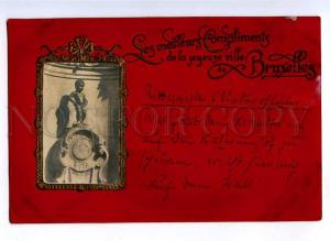 191164 BELGIUM BRUXELLES Manneken Pis Old embossed postcard