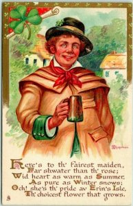 1910s Tuck's Erin's Daughters Postcard Here's to th' Fairest Maiden Unused