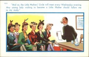 Large Breasted Little Mothers Circle & Priest Comic Sexual Innuendo Postcard