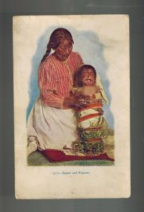 Mint Embossed Postcard Native American Indian Squaw adn Papoose Woman and baby