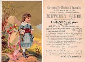 Approx Size Inches = 3.25 x 4.50 PT Barnum & C0 Trade Card