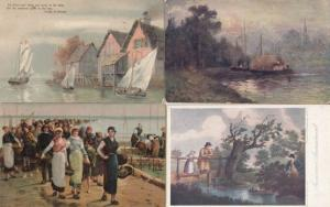 Fishing Boat Oilettes 4x Antique Tucks Postcard s inc Competition Prize etc