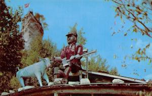 St Ignace Michigan~Castle Rock~Paul Bunyan & Babe Blue Ox on the Rooftop~1954