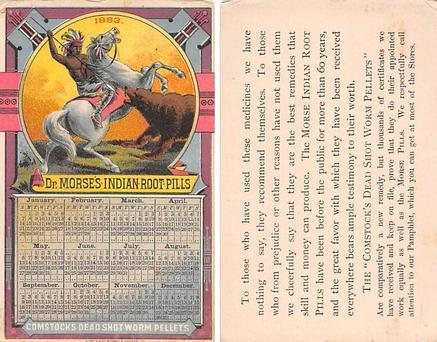 approx size inches = 3 x 4.5 Trade Card, Tradecard Calander 1883