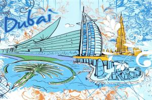 Fine Art Quality Postcard, Dubai, UAE, Landmarks, City, View, Travel 21i