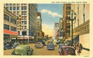 Seattle Washington automobiles Third Ave Pike Teich linen Postcard 21-10371