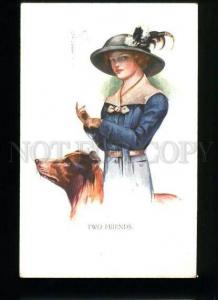 134595 BELLE Lady & COLLIE Dog by BARBER vintage Color PC