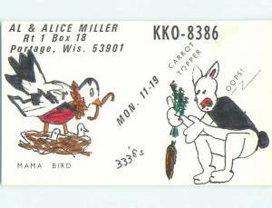 Rabbit And Bird - Qsl Ham Radio Card Portage Wisconsin WI t1093