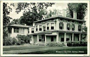 Quincy, IL Postcard Women's City Club Building View Curteich c1940s UNUSED