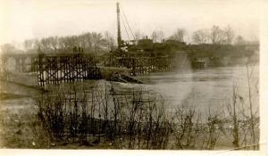 OH - Dayton. March 1913 Flood Aftermath, Railroad Bridge. RP (PHOTO, not a PC)
