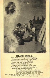 British Soldier Dying Military Man - Poem Blue Bell Vintage Postcard