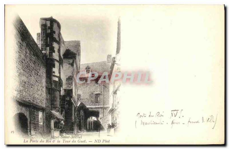 Old Postcard Mont Saint Michel's Gate King the Watch Tower