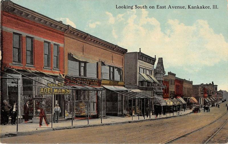 Kankakee Illinois East Avenue Looking South General View Antique Postcard V16928