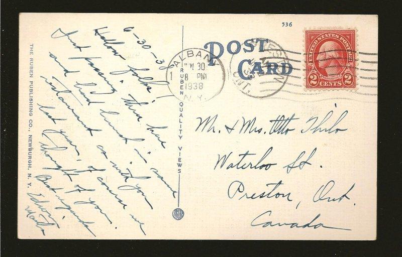 USA Postmark 1938 Albany NY New York State Capitol Albany Linen Postcard