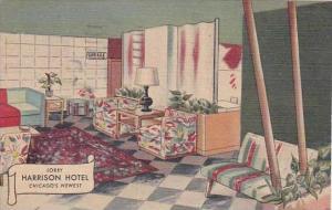 Illinois Chicago Lobby Harrison Hotel 1952