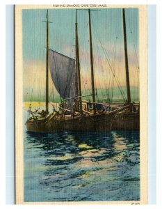 Postcard Fishing Smacks, Cape Cod MA 1941 D32