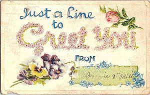 Just A Line To Greet You From Vintage Embossed Postcard Standard View Card