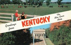 Postcard Greetings Blue Grass State Kentucky