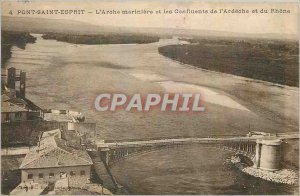 Old Postcard Pont Saint Esprit mariniere Ark and Confluents of Ardeche and Rhone