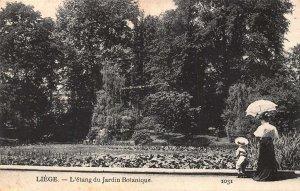 Belgium Liege Jardin Botanique The Pond of the Botanical Garden Postcard