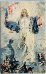 1940s THE METHODIST CHURCH Jesus Postcard  Artist-Signed H.C. Christy Linen