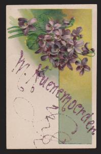 General Greetings - Flowers Lettering In Glitter - Used 1915 - Embossed