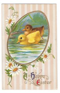 Happy Easter Ducklings Swimming Gold Frame Daisies Vntg Embossed Postcard