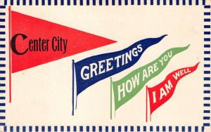 Center City Minnesota~Pennant Greeting~How are You, I am Well~c1910 Postcard