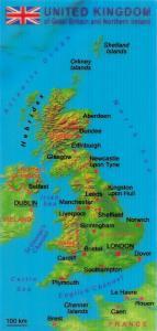 3D Map Postcard, United Kingdom of Great Britain and Northern Ireland 60U