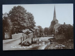 Kent EYNSFORD The Bridge shows Cattle in River & Street Old RP Postcard by R Gee