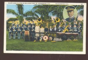 ST. PETERSBURG FLORIDA MOSES BAND PLAYING WILLIAMS PARK VINTAGE POSTCARD
