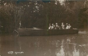 Social history 1924 old Postcard group people nature boat trip