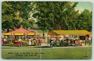 Conneaut Lake Park PA~Kiddie Land Amusement Park~Car Carousel~Picnic~1951 Linen