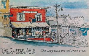 Boothbay Harbor Maine~Clipper Ship~Old Brick Oven~Handcrafts~Gifts~1950s Artist