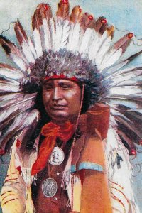H-030  A Western Indian Chief Real Color Picture Postcard