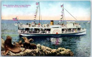 Catalina Island, California Postcard Glass Bottom Boat at Seal Rocks PNC 1920s