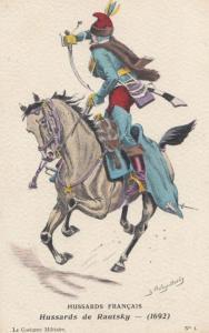 1692 Hussards De Rautsky Regment Battle War Francais Military Uniform Postcard