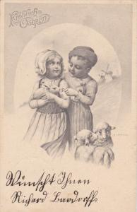 EASTER; Frohliche Ostern, Boy And Girl Holding A Rabbit, 1900-1910's